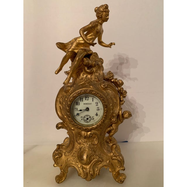 Antique Benedict mfg.co. Louis XIV Style Gilt Gold Novelty Clock For Sale - Image 13 of 13