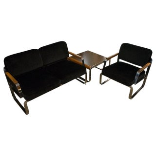 Midcentury Chrome and Mohair Loveseat, Chair and Table Set, 1960s For Sale
