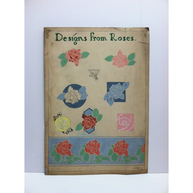 """1924 Vintage """"Designs From Roses"""" Sign by Thomas Sturges Jr. For Sale In Pittsburgh - Image 6 of 6"""
