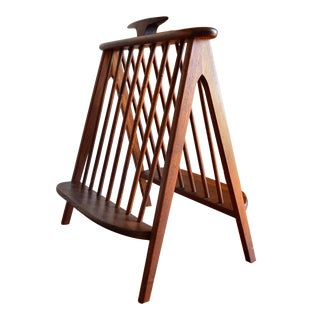 Mid Century Modern Teak Spindle Magazine Rack For Sale
