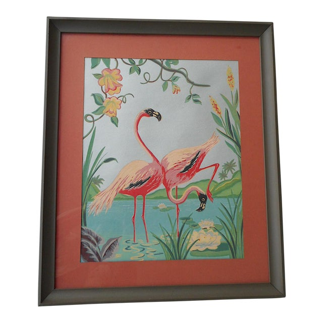 Vintage Mid 20th C. Hand Finished Silkscreen-Flamingos-Framed - Image 1 of 3