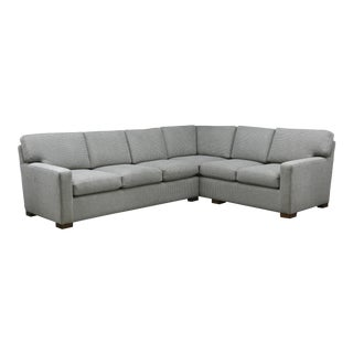 Modern Grey Woven Fabric Custom Made Sectional For Sale