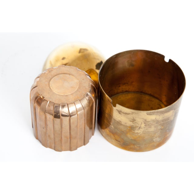 "Metal Cylinda-Line Brass Ashtray by Arne Jacobsen X Stelton With Brass ""Vendor"" Vase For Sale - Image 7 of 8"