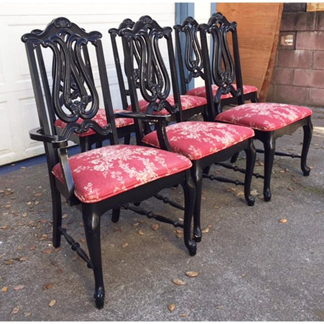 Hollywood Regency Chinoiserie Red Toile Black Louis French Dining Chairs - 6 - Image 9 of 11
