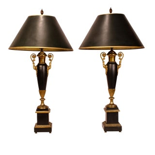 19th Century French Empire Tole Lamps - a Pair For Sale