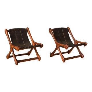 Mid Century Leather Cocobolo Rosewood Sling Chairs by Don Shoemaker - a Pair For Sale