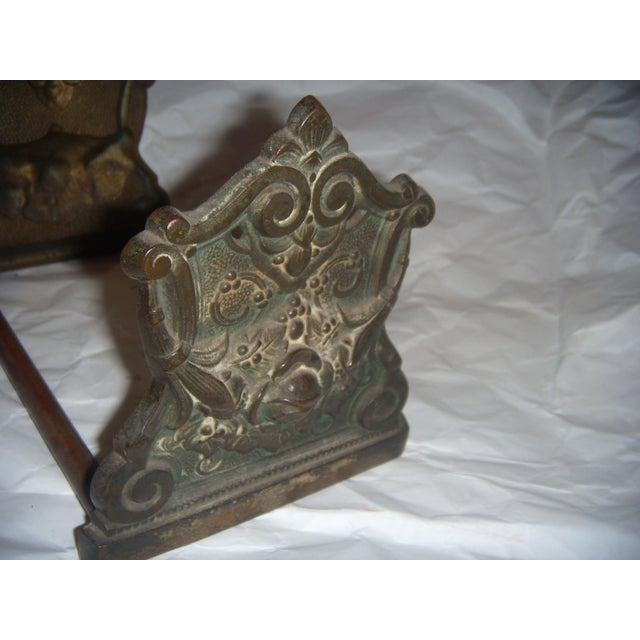 Victorian Expandable Ornate Brass Bookends - Image 4 of 11