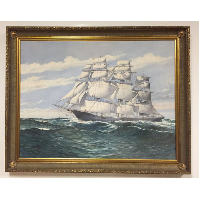 An oil on canvas large ship painting by Wendell F. Collum. A stunning Nautical piece for any room!