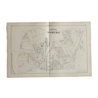 Antique Woburn Massachusetts Atlas Map Plate B For Sale