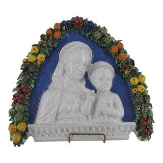 Della Robbia Italian Faience Ware Madonna & Christ W/Arched Garlands Wall Icon For Sale