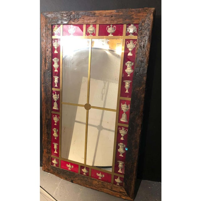 Rustic Italian Wall Mirror With Reverse Painted Classical Vases and Urns For Sale - Image 11 of 13