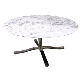 "Monumental 60"" Round Rare Nicos Zographos Round Carrara Marble ""Alpha"" Dining or Conference Table For Sale"