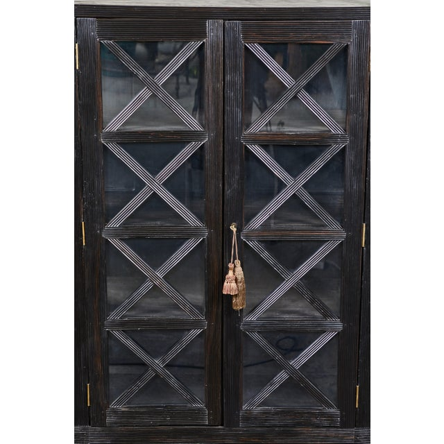 20th C. Ebony British Colonial 2-Door Display Cabinet For Sale - Image 10 of 11