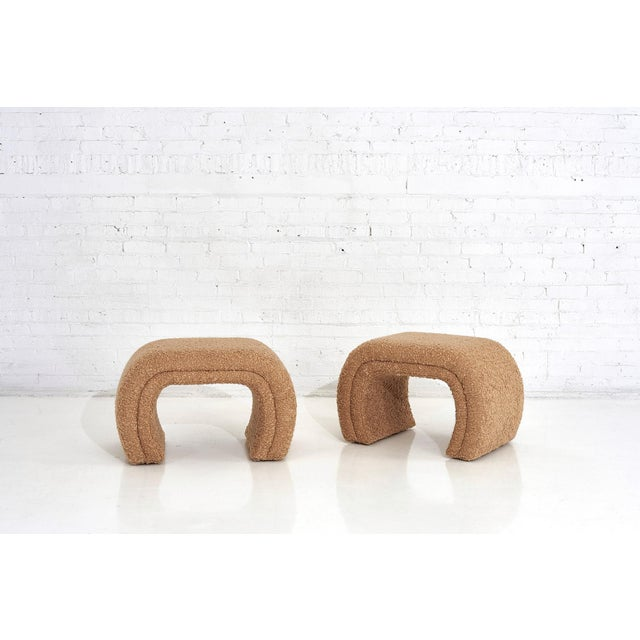 Mid-Century Modern Vladimir Kagan for Directional, Waterfall Stools in Tan Boucle, 1990 For Sale - Image 3 of 8