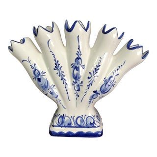 Blue & White Portuguese Tulip Vase For Sale