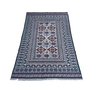Vintage Afghan Tribal Soumak Kilim Rug - 4′ × 6′2″