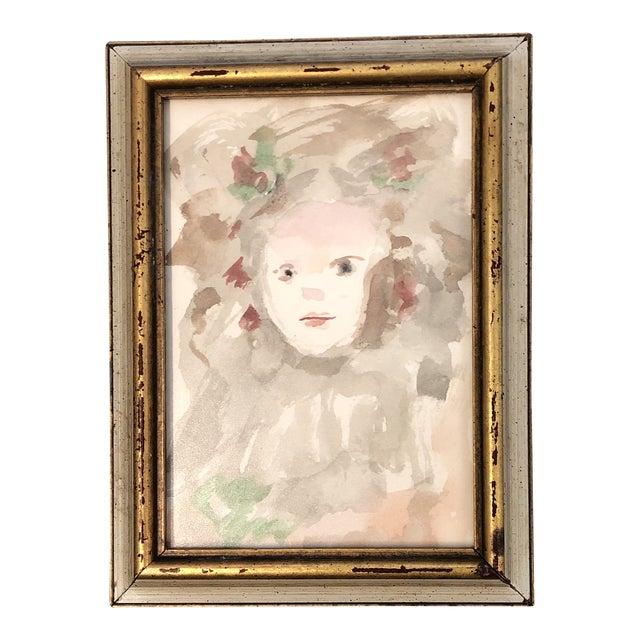 Original Impressionist Watercolor Child Portrait Painting Small For Sale