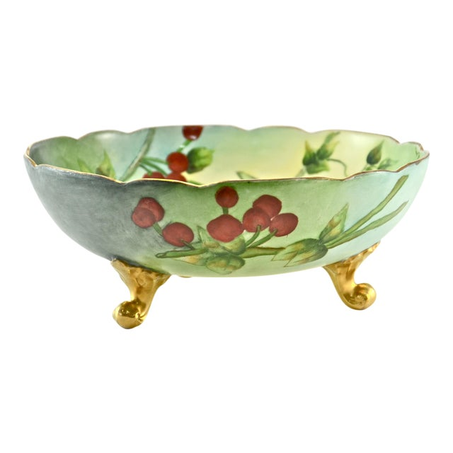 1910s Limoges Centerpiece Hand-Painted Bowl For Sale