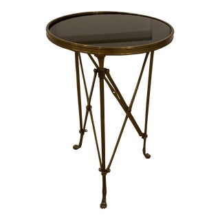 1990s Vintage Neoclassical Iron and Granite Side Table For Sale