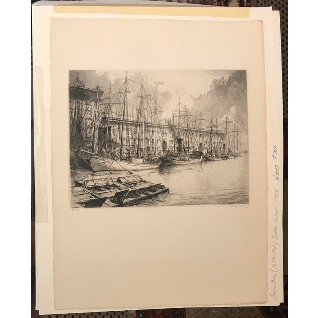 Americana 1928 Vintage Louis Orr Boston Harbor Etching For Sale - Image 3 of 4
