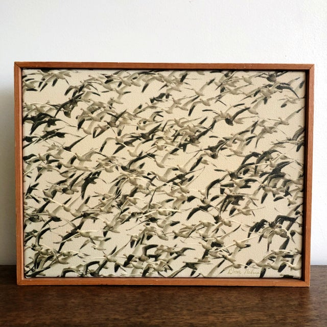 Mid-Century Framed Sepia Photograph of Flying Geese on Canvas For Sale In Austin - Image 6 of 6