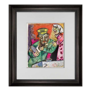 """Modern Marc Chagall Lithograph Limited Edition """"The Spoon"""" + Archival Frame For Sale"""