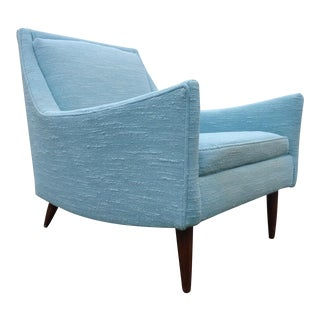 Mid Century Danish Modern Style Turquoise Lounge Chair For Sale