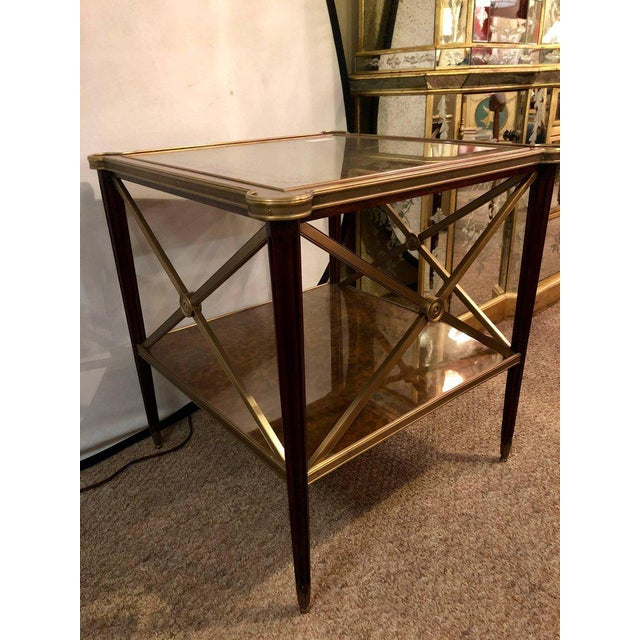 Hollywood Regency Bronze Decorated End Table X-Base Sides Tortoise Glass Top - Image 4 of 11