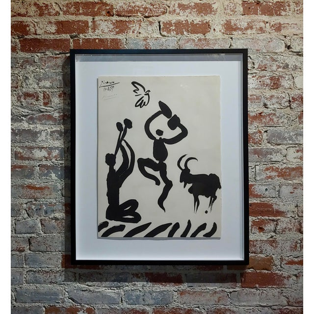 Black Pablo Picasso - Dancer & Goat - 1959 Lithograph -Pencil Signed For Sale - Image 8 of 8