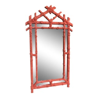 Vintage Faux Bois Coral Mirror For Sale
