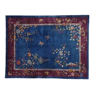 Antique Chinese Art Deco Rug With Jazz Age Chinoiserie Style - 8′9″ × 11′6″ For Sale