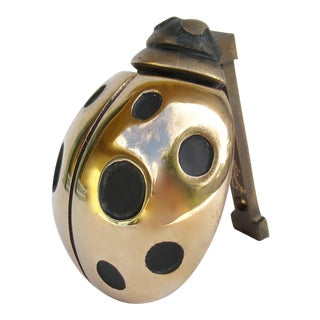 Vintage Polished Brass Plated Ladybug Door Knocker For Sale