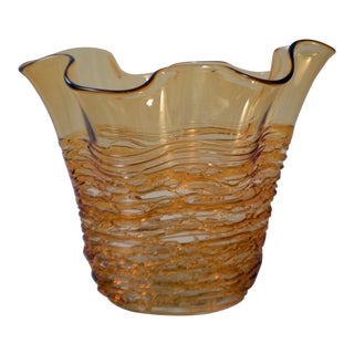 Hand Blown Murano Glass Decorative Fluted Vase For Sale