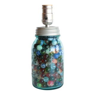Ball Mason Jar Table Lamp with Marbles For Sale