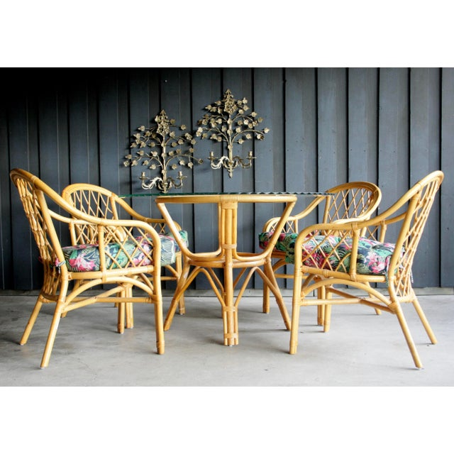 Boho Chic Diamond Pattern Rattan Dining Set With 4 Armchairs, Set of 5 For Sale In Dallas - Image 6 of 13