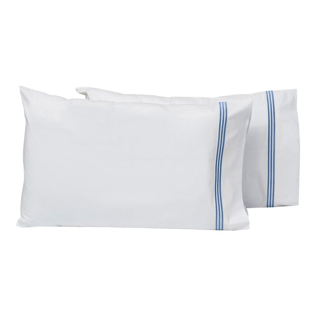 Platinum King Pillowcases in White and Air Force Blue - a Pair For Sale