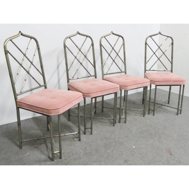 Mid Century Brutalist Faux Bamboo Metal Dining Chairs- Set of 4 For Sale - Image 9 of 9