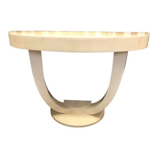 Late 20th Century Deco Style Faux Goatskin Console Table For Sale