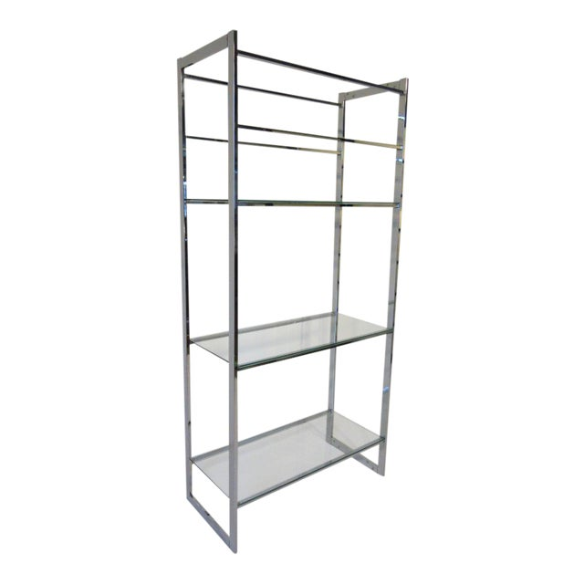 1970's Chrome and Glass Etagere For Sale