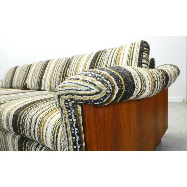 Mid Century Boho Modern Walnut Milo Baughman Style Sofa For Sale - Image 4 of 8