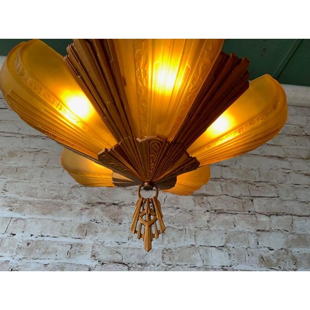 """1930s Art Deco 5 Light Virden """"Rayburn"""" Chandelier For Sale - Image 4 of 6"""