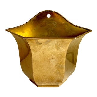 Brass Wall Decor Plant or Mail Vessel For Sale