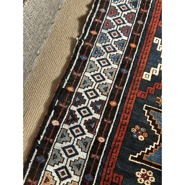 Islamic Antique Area Rug in Blues and Cranberry For Sale - Image 3 of 10