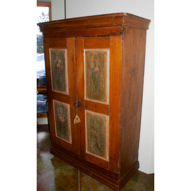 Late 18th/Early 19th Century Antique Hand-Painted Armoire of European Origin For Sale - Image 9 of 9
