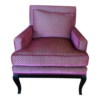 Transitional Raspberry Pink Velvet Club Chair For Sale