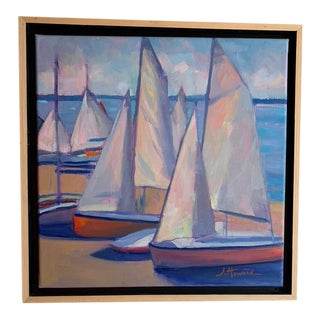 """Sails and Stripes"" Contemporary Nautical Seascape Oil Painting, Framed For Sale"