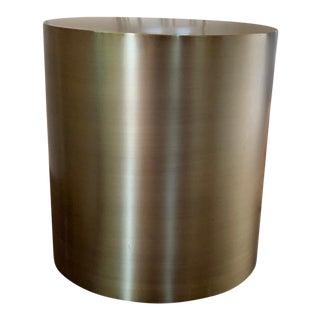 Modern Milo Baughman Bronze Drum Side Table For Sale