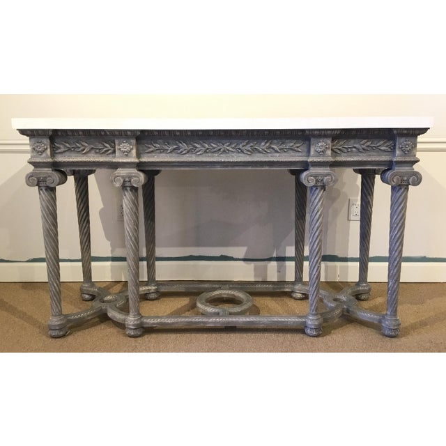 Wood Henredon White Marble French Style Console Table For Sale - Image 7 of 7
