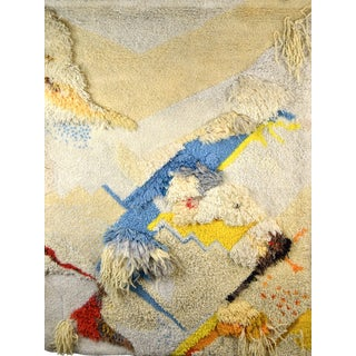 Vintage Mid-Century Modern Fiber Art Latch Hook Wall Hanging Tapestry For Sale