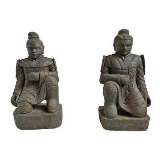 Pair of Kneeling Stone Warriors For Sale